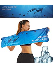 Teniux Cooling Towel, Microfiber Towel for Instant Cooling- Ice Towel for Sports, Yoga, Gym & Fitness Use as Cooling Scarf Headband Wristband Bandana, Wick away sweat