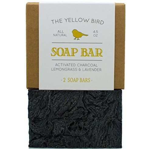 Charcoal Soap (2 Bar Pack) Natural Body & Face Detox Cleansing Soap for Men & Women. Handmade, Vegan, Organic, Non GMO Ingredients. Facial Cleanser Black Soap for Oily Skin.