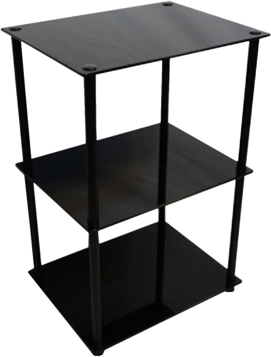 Convenience Concepts Designs2Go Midnight Classic 3-Tier Glass Square End Lamp Table, Black Glass