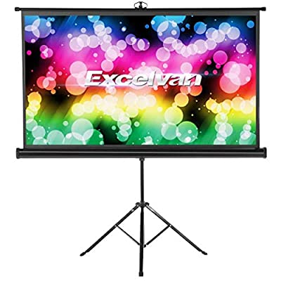 Excelvan Portable Projector Screen with Foldable Stand Tripod, Movie Screen HD Pull Up Indoor Outdoor Projection Screen for Home Theater Cinema Movie Wedding Party Office Presentation