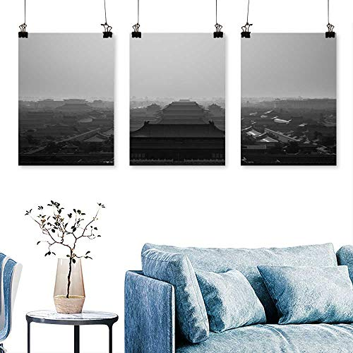 SCOCICI1588 3 Panel Canvas Wall Art Forbidden City seen from jsh Park templae on a Hill beij China to Hang for Living Room No Frame 24 INCH X 40 INCH X 3PCS -