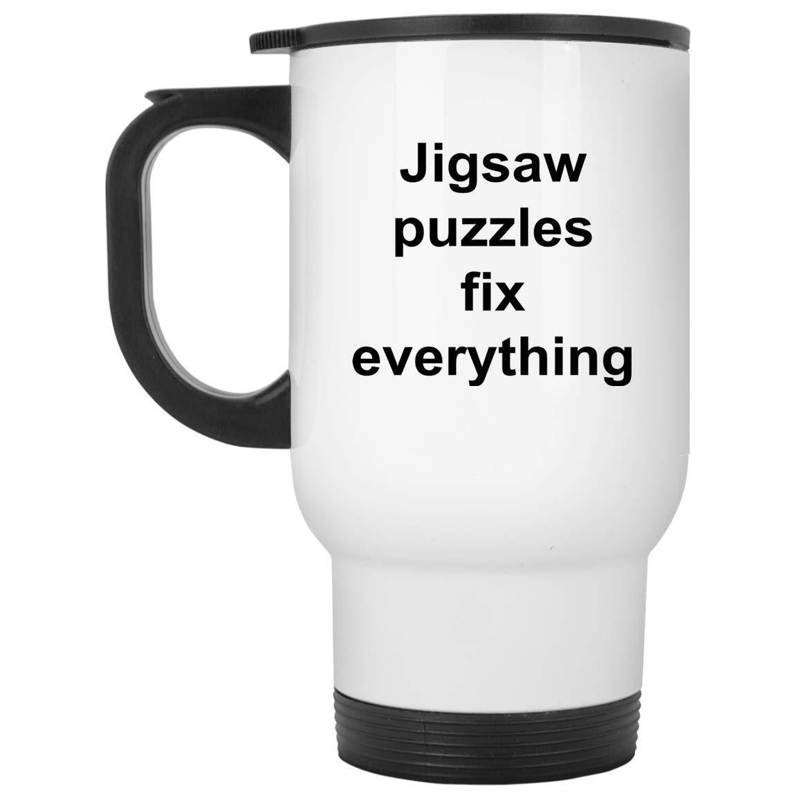 ジグソーパズル トラベルマグ - 14オンス ホワイトステンレススチール - 面白いノベルティギフトアイデア B07J6G46C9