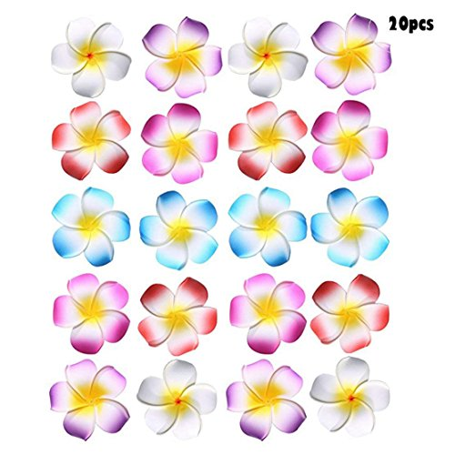20PCS Sc0nni Hawaiian Foam Flowers Hair Clips Bridal Hair Clips For Wedding Luau Party Beach Wear Poolside Wear Favor Event Decoration(Stylish Classic 5 cm, red,blue,pink,purple,white) ()