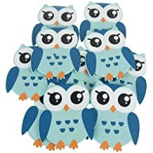 "Homeford FC2563WP10BL Wooden Animal Cutouts, Baby Favors, 5"" , 10 Pack, Blue Owl,Blue,Owl"