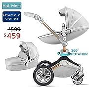 Baby Stroller 360 Rotation Function,Hot Mom Travel System Pram (Grey)