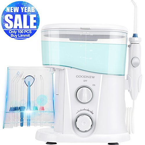 GOODNEW Leak-Proof Large Capacity Electric Quiet Design Water Dental Flosser for Family,Dentist Recommended Professional Oral Irrigator with 7 Rechargeable Tips for Teeth, Braces and Bridges (White)