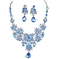 Bridal Bridesmaids Crystal Rhinestone Necklace and Earring Set Jewelry Eardrop Gifts Fit With Wedding Dress by Staron (Blue)