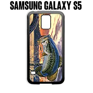 Phone Case Pro Fishing Bass Mouth for Samsung Galaxy S5 Rubber Black (Ships from CA)