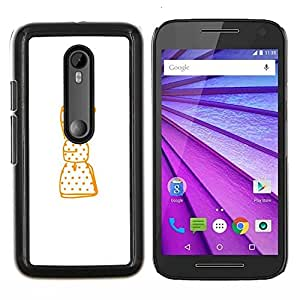 Limpie Dibujo minimalista arco blanco- Metal de aluminio y de plástico duro Caja del teléfono - Negro - Motorola Moto G (3rd gen) / G3