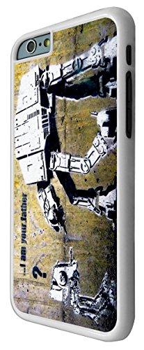548 - Banksy Grafitti Art Star War Robot Design iphone 6 6S 4.7'' Coque Fashion Trend Case Coque Protection Cover plastique et métal - Blanc