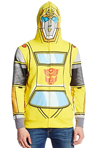 Transformers Men's Bumble Bee Costume Hoodie, Gold,