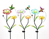 Alpine 100533177 Metal Flower Solar LED Stake Assorted, White