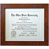 Inked and Screened Document Frame Sized 8.5x11 inch Opening with Matte Total Size 11x14 Black Frame with White Matte for Diplomas, certificates, and Photographs (Brown)
