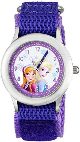 Disney Kids' W001228 Frozen Elsa & Anna Analog Watch With Purple Nylon Strap