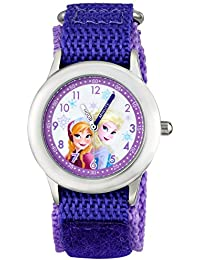 Kids' W001228 Frozen Elsa & Anna Analog Watch With Purple Nylon Strap