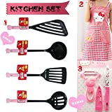 Great HouseWarming Gifts for Kitchen - Sanrio Japan Hello Kitty Silicone Home Cooking Utensils Set of 7 Pink Series: Spatula, Ladle, Draining Spoon, Fish Turner, Fruit Knife & Peeler and Arpon