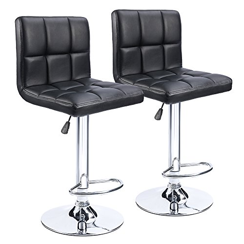 Homall Swivel Black Bonded Leather Barstool Adjustable Hydraulic Bar Stool, Set of 2 (Recliner Chair And Stool Set)