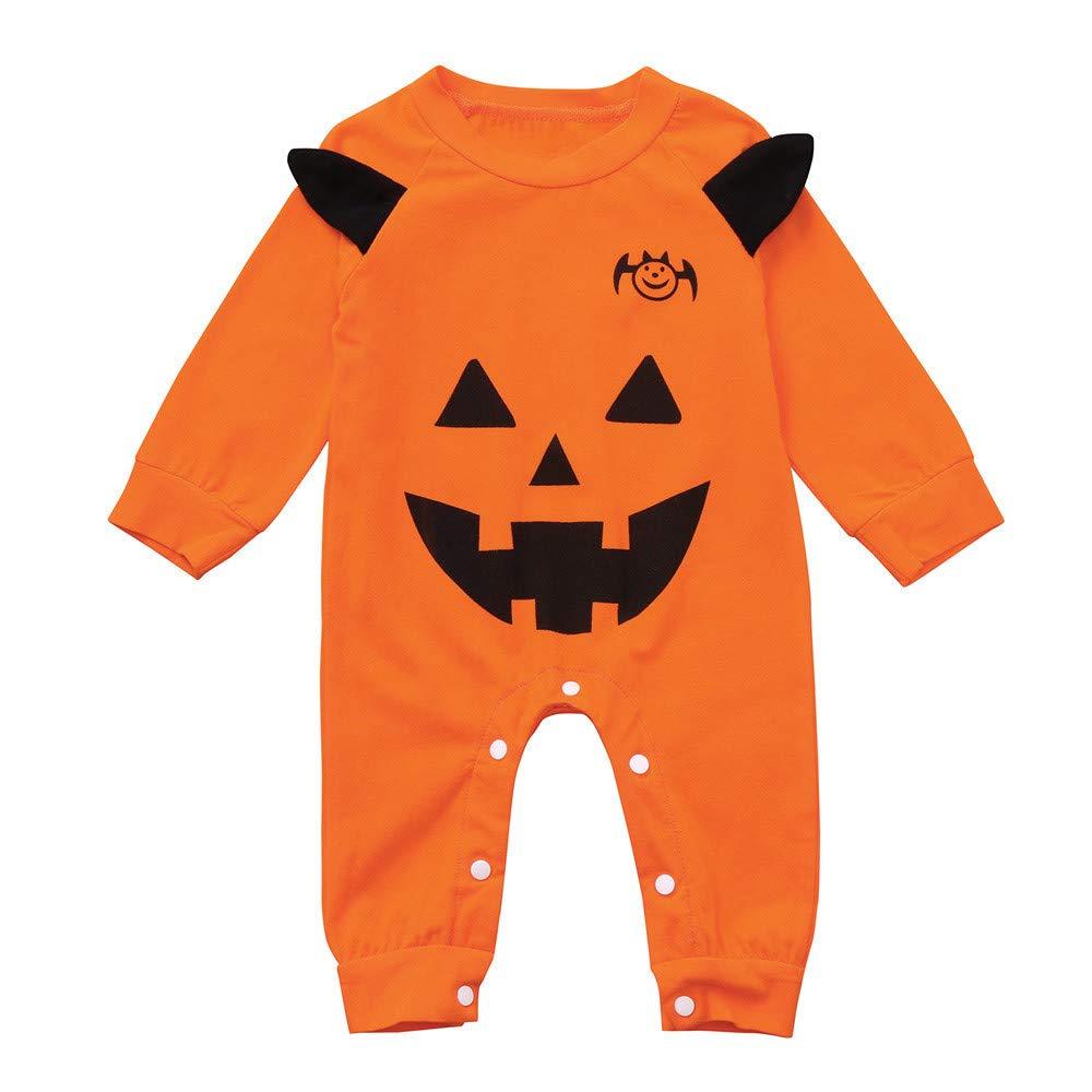 Jimmackey Neonato Unisex 3D Pagliaccetto, Bebè Halloween Zucca Stampa Tutine Body Vestiti, Da 6 A 24 Mesi Bambino