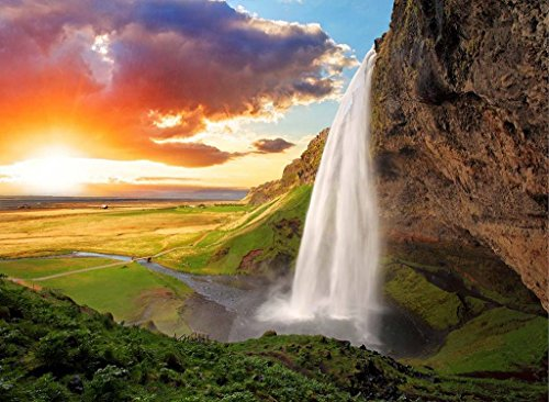 Sim,Handmade Premium Basswood Jigsaw Puzzle 500 Piece Bright Color Famouse Painting 20.6 X 15.1 inch Nobleness Present in Box Present-Wrap : Iceland Waterfall River Field (Jig Saw Costume)