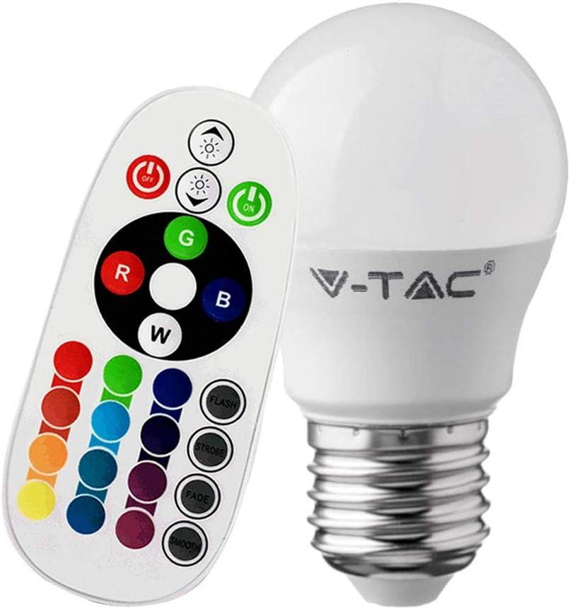 V-TAC Smart 3.5W 320 Lumens E27 G45 RGBW Colour Changing Remote Control