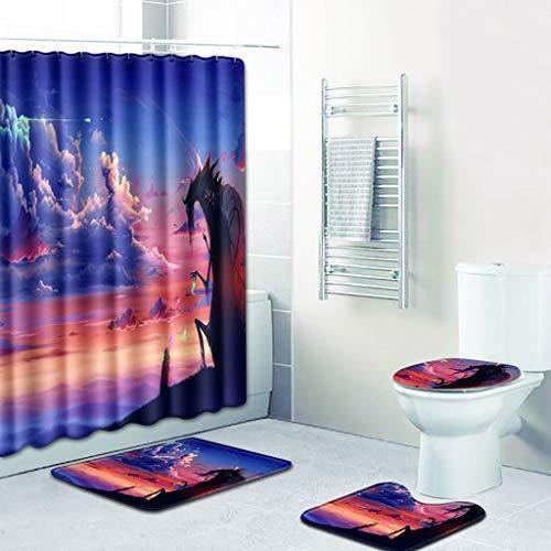 Bathroom Rug Mats Set 4 Piece Toilet Carpet Rugs Includes Decor Shower Curtain, Contour Mat and Lid Cover, Non Slip Shaggy mat Machine Wash/Dry, Perfect Plush Mats for Tub Shower