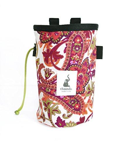 chaandu Floral Paisley Chalk Bag with Belt for Rock Climbing