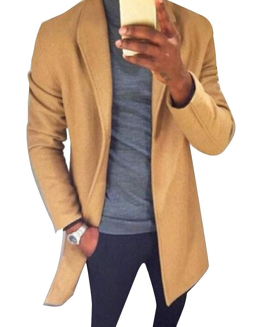 Winwinus Men Wool Blended Thigh-Length Long Sleeve Thick Duster Coat