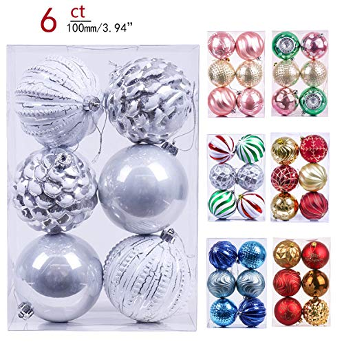Valery Madelyn 6ct 100mm Frozen Winter Silver White Shatterproof Christmas Ball Ornaments Decoration,Themed with Tree Skirt(Not Included) ()