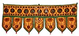 Krishna Mart India Home Decorative Elephant Mirror Embroidered Window Valence Door Hanging Bandhanwar Toran
