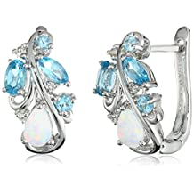 Sterling Silver Created Opal with Blue and White Topaz Accent Hoop Earrings