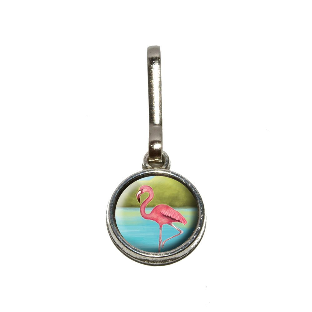 Flamingo Antiqued Charm Clothes Purse Luggage Backpack Zipper Pull