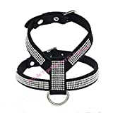 Hyalo(TM) Soft Suede Fabric Pet Dog Harness Bling Rhinestone Studded Small Puppy Walking Lead XS-L