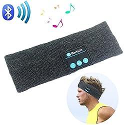 Rwesion Wireless Bluetooth Stereo Headband Headphones Headset Earbuds Sport Running Yoga Sleeping Headband Dark-Grey (Grey)
