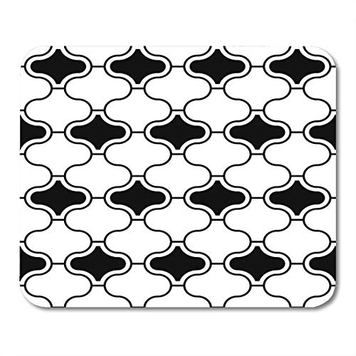 Boszina Mouse Pads Black with Paseo Oriental Traditional Ornamentation with Repeated Rounded Shapes Window Tracery Grid Mouse Pad for notebooks,Desktop Computers mats 9.5