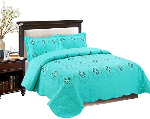 MarCielo 3-Piece Fully Quilted Embroidery Quilts Bedspreads Bed Coverlets Cover Set, Cal King Size, White, Black, Emma(Oversize, Turquoise)