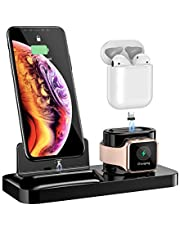 Wireless Phone Charger Stand, Wireless Charger, 3-in-1 Fast Charging Station Compatible with Apple Watch Airpods, Charging Stand, Black
