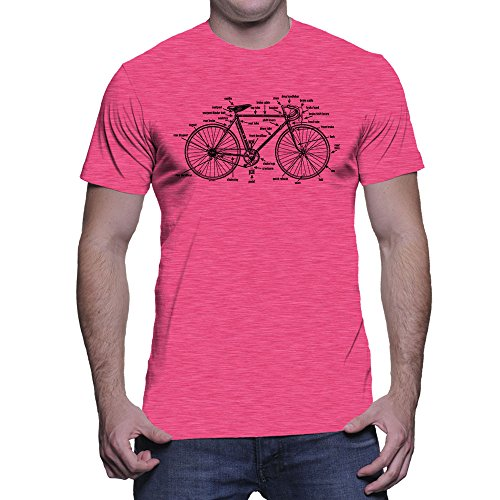 Men's Anatomy of A Bicycle T-Shirt (Pink, XX-Large)