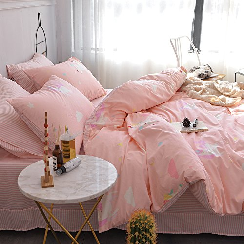 ORoa 3 Piece Kids Twin Bedding Sets Cartoon Animal Unicorn Twin Duvet Cover Set by usually means of  Pillowcases for Kids Teen Girls 100 Cotton reversible stream-lined child Striped Bedding Duvet Cover