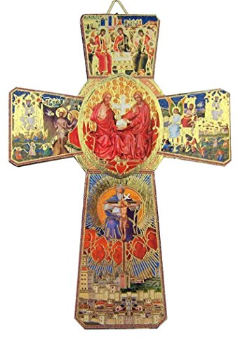 Religious Gifts Holy Trinity Icon on Wood Crucifix Cross with Gold Toned Trim, 4 3/4 Inch