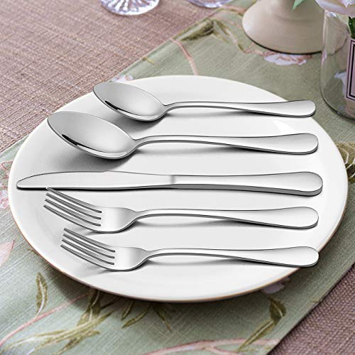 Silverware Set with Serving Pieces, LIANYU 48-Piece Flatware Set Service for 8, Stainless Steel Cutlery Eating Utensils, Mirror Finish, Dishwasher Safe by LIANYU (Image #2)