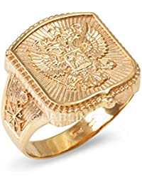 14K Polished Gold Russian Imperial Crest Mens Orthodox Cross Ring