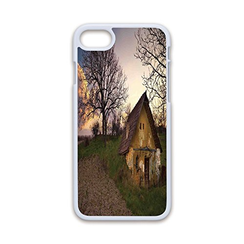Phone Case Compatible with iPhone7 iPhone8 White Soft Edges 2D Print,Rustic Home Decor,Battered Stone House in Field Messy Shed Building Provincial Pastoral Concept,Multi,Hard Plastic Phone Case