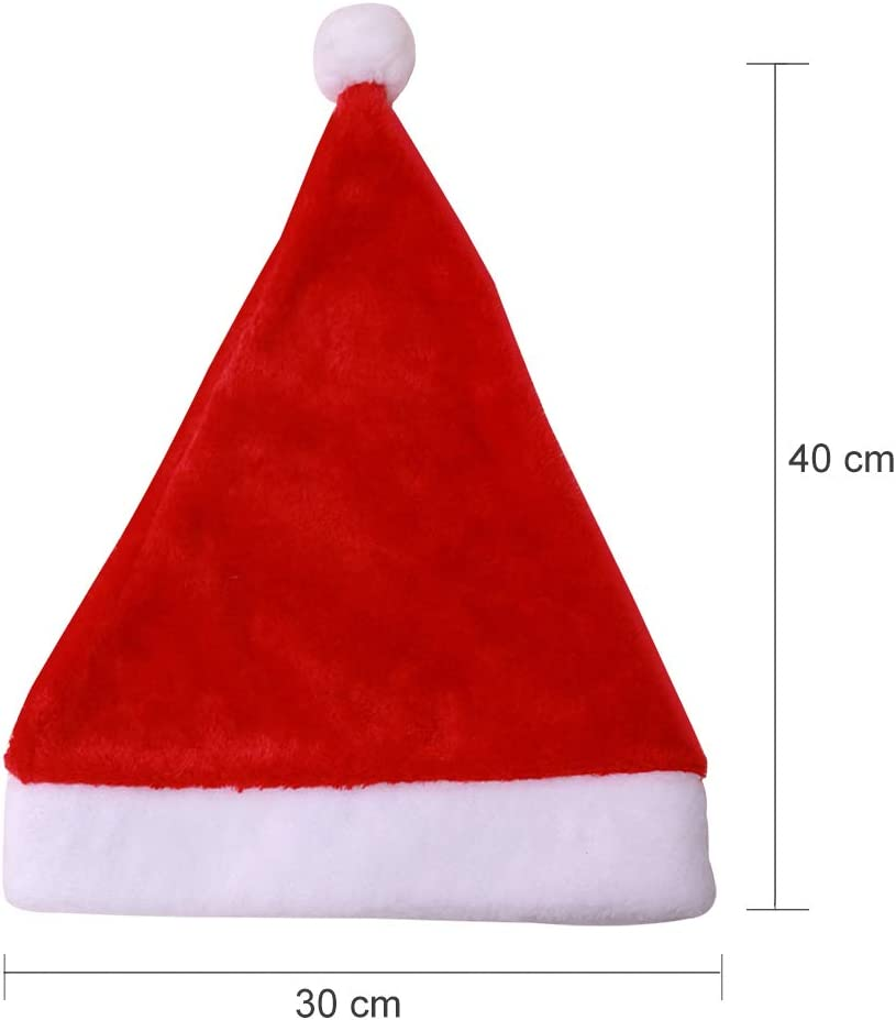 SEGMINISMART Weihnachtsm/ützen,Nikolausm/ütze Pl/üsch Rand Weihnachtsfeier,Rot Santa M/ütze Nikolaus Dicker Fellrand aus Pl/üsch kuschelweich /& angenehm 2pcs