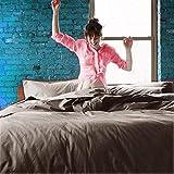 Linenwalas Queen Bedding Set - Cotton | 800 Thread Count - Bed Room Set - Deep Pocket Sheets | Sheet Set, India (Queen, Grey)