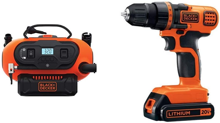 BLACK DECKER BDINF20C 20V Lithium Cordless Multi-Purpose Inflator Tool Only with BLACK DECKER LDX120C 20V MAX Lithium Ion Drill Driver