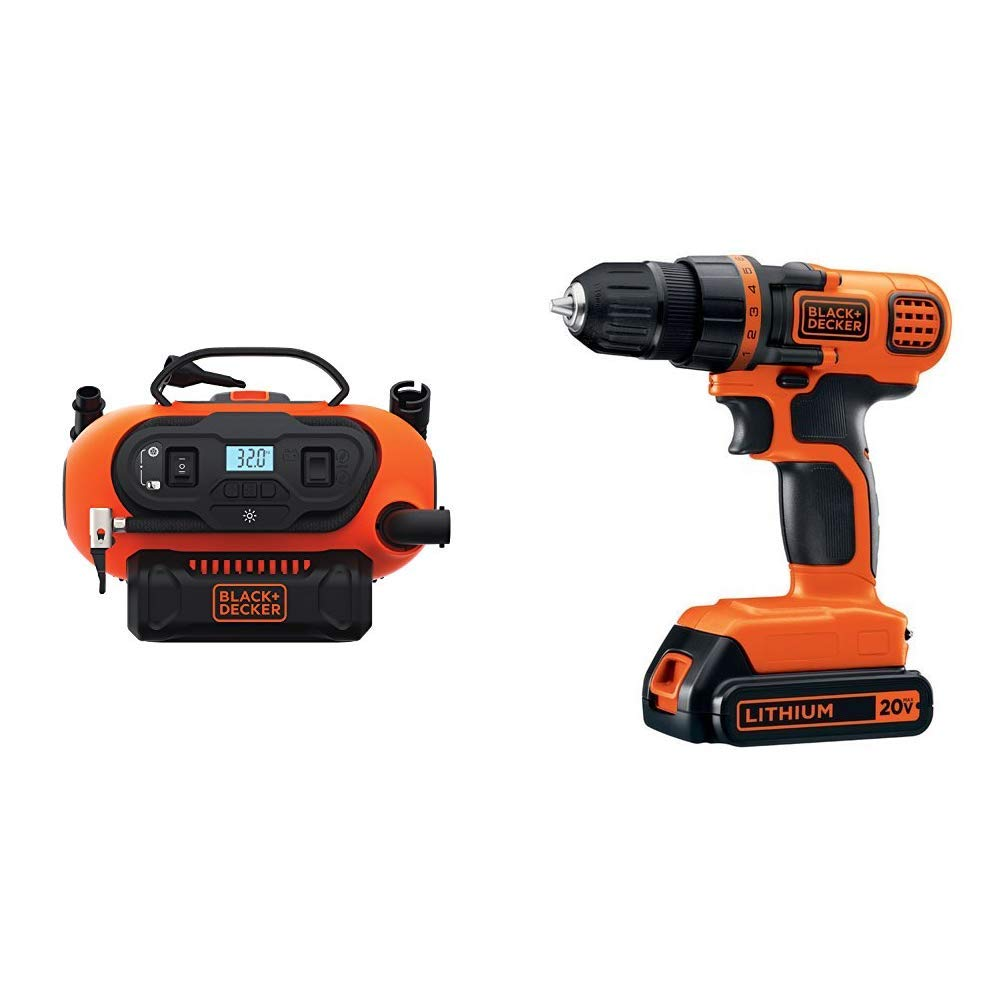 BLACK+DECKER BDINF20C 20V Lithium Cordless Multi-Purpose Inflator (Tool Only) with BLACK+DECKER LDX120C 20V MAX Lithium Ion Drill / Driver