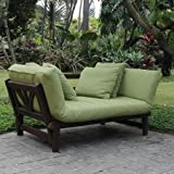 Cheap Delahey Studio Converting Outdoor Sofa, Brown with Green Cushions
