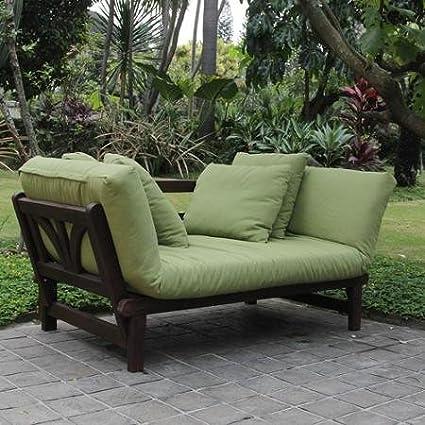 Amazon Com Delahey Studio Converting Outdoor Sofa Brown With