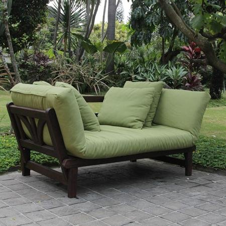 Merveilleux Delahey Studio Converting Outdoor Sofa, Brown With Green Cushions