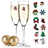 Christmas Wine Charms & Cocktail Markers Set of 12 - Great Gift Idea or Stocking Stuffer